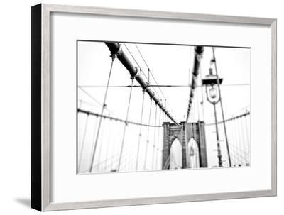 Cables Suspended from the Brooklyn Bridge-Kike Calvo-Framed Premium Photographic Print