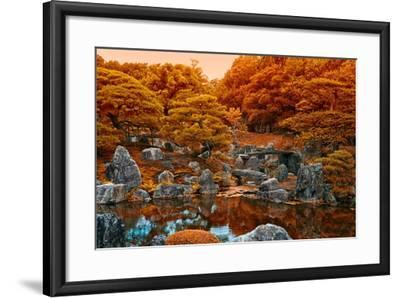 Fall Colors at the Pond of the Ninomaru Garden-Kike Calvo-Framed Photographic Print
