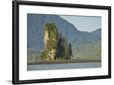 The New Eddystone Rock Formation, Off of a Forested, Mountainous Coast-Jonathan Kingston-Framed Photographic Print