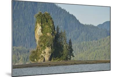 The New Eddystone Rock Formation, Off of a Forested, Mountainous Coast-Jonathan Kingston-Mounted Photographic Print