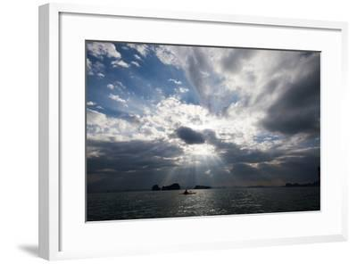 Andaman Sea: A Kayaker in the Andaman Sea under Rays of Light-Ben Horton-Framed Photographic Print