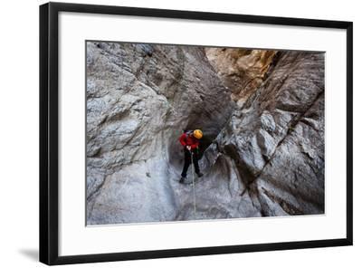 Pasadena, California: A Canyoneer Rappels a Dried Up Waterfall-Ben Horton-Framed Photographic Print