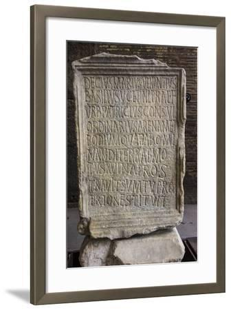Close Up of an Ancient Inscription at the Colosseum-Will Van Overbeek-Framed Photographic Print