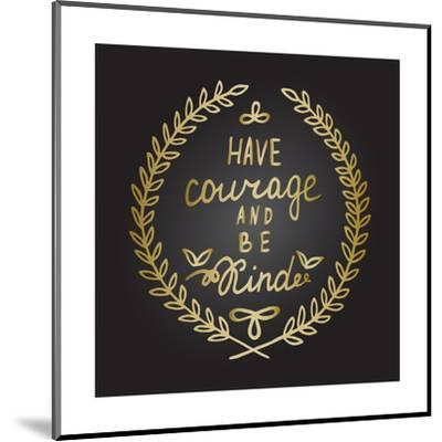 Inspiration Quote in Gold Laurel Leaves Frame-ZenFruitGraphics-Mounted Art Print