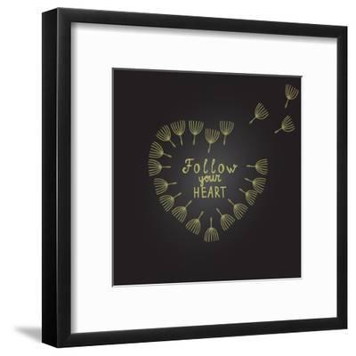 Follow Your Heart Inspiration Quote Gold Heart Dandelion Seeds-ZenFruitGraphics-Framed Art Print