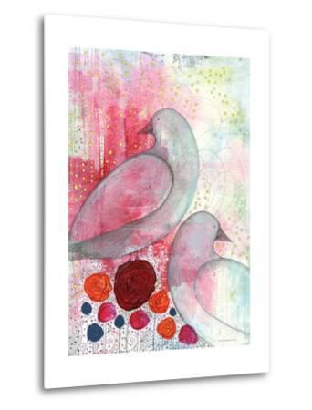 Two Birds in Fuschia-Sarah Ogren-Metal Print