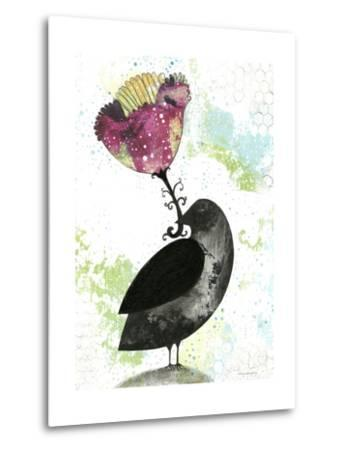 Folk Crow with Flower-Sarah Ogren-Metal Print