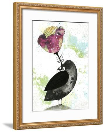 Folk Crow with Flower-Sarah Ogren-Framed Art Print