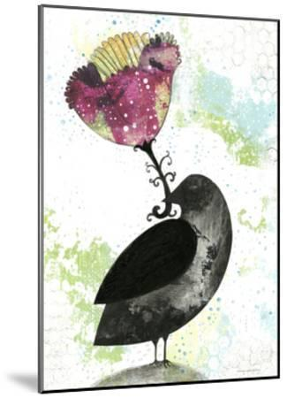 Folk Crow with Flower-Sarah Ogren-Mounted Art Print