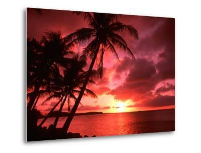 Palms And Sunset at Tumon Bay, Guam-Bill Bachmann-Metal Print