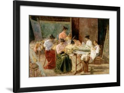 Venetian Embroidery Makers, C.1905-Andrew Colley-Framed Giclee Print