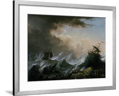 Sea Storm and Shipwreck-Christian Wilhelm Ernst Dietrich-Framed Giclee Print