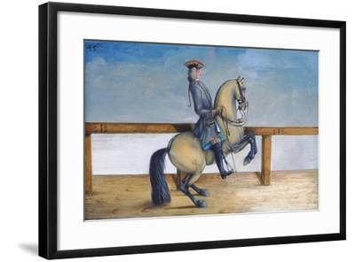 No. 45 a Horse of the Spanish Riding School Performing a Dressage Movement Called the 'Courbette'-Baron Reis d' Eisenberg-Framed Giclee Print
