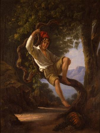A Young Boy Climbing a Tree, 1820s-Franz Ludwig Catel-Framed Giclee Print