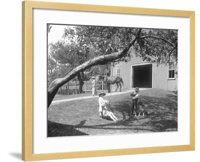 Children of the Mccready Family with a Dog and Puppy Gathered around a Rope Swing Outside a Barn-William Davis Hassler-Framed Photographic Print