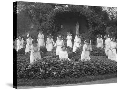 Graduating Class of Girls from the Roman Catholic Orphan Asylum in the Flower Garden-William Davis Hassler-Stretched Canvas Print