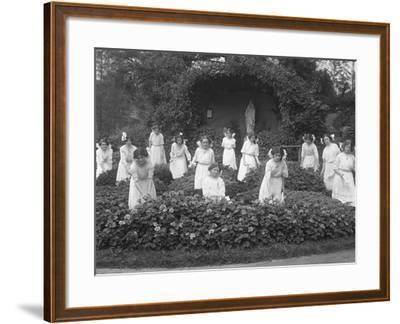 Graduating Class of Girls from the Roman Catholic Orphan Asylum in the Flower Garden-William Davis Hassler-Framed Photographic Print