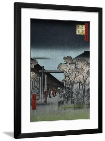 Dawn in the Yoshiwara', from the Series 'One Hundred Views of Famous Places in Edo'-Utagawa Hiroshige-Framed Giclee Print