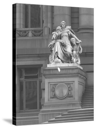 America' Statue Outside the Custom House, New York City, C.1912-William Davis Hassler-Stretched Canvas Print