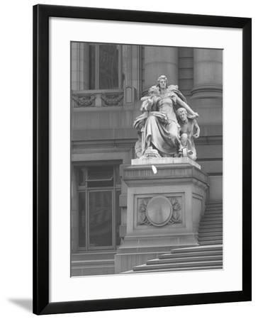 America' Statue Outside the Custom House, New York City, C.1912-William Davis Hassler-Framed Photographic Print