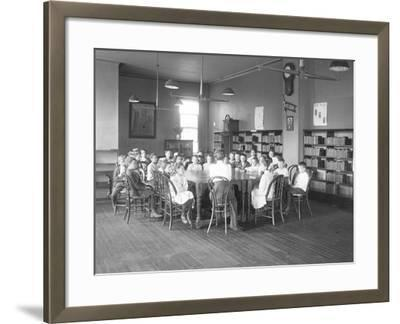 Children Listen to a Woman in the Reading Room-William Davis Hassler-Framed Photographic Print