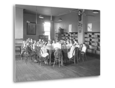 Children Listen to a Woman in the Reading Room-William Davis Hassler-Metal Print