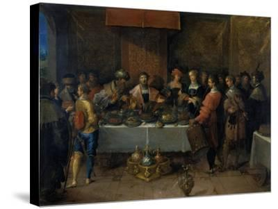 Damocles at the Table, before 1620-Frans Francken II-Stretched Canvas Print