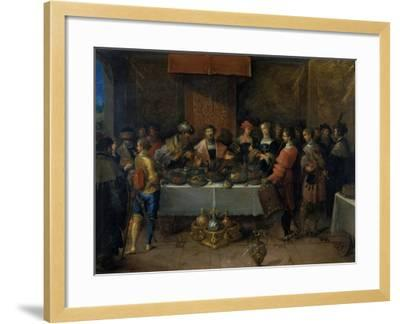 Damocles at the Table, before 1620-Frans Francken II-Framed Giclee Print