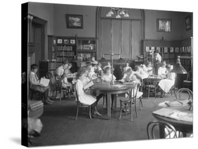 Children Reading in the Reading Room of an Unidentified Branch of the Queens Borough Public Library-William Davis Hassler-Stretched Canvas Print