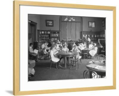 Children Reading in the Reading Room of an Unidentified Branch of the Queens Borough Public Library-William Davis Hassler-Framed Photographic Print