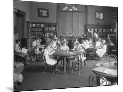 Children Reading in the Reading Room of an Unidentified Branch of the Queens Borough Public Library-William Davis Hassler-Mounted Photographic Print