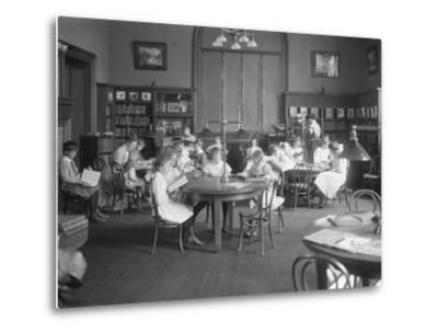 Children Reading in the Reading Room of an Unidentified Branch of the Queens Borough Public Library-William Davis Hassler-Metal Print