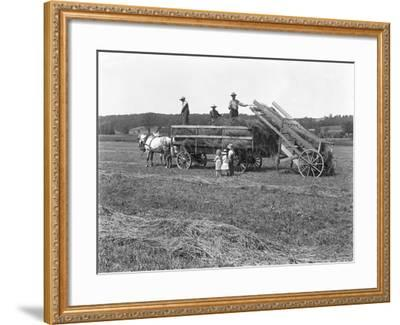 Farm Workers Loading Hay on to Horse-Drawn Hay Wagon as Three Children Watch-William Davis Hassler-Framed Photographic Print