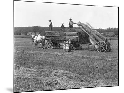 Farm Workers Loading Hay on to Horse-Drawn Hay Wagon as Three Children Watch-William Davis Hassler-Mounted Photographic Print