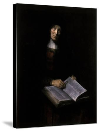 Old Women with Book-Nicolaes Maes-Stretched Canvas Print