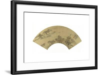 Landscape with Pagoda, Houses and Boats, 1625-Sheng Maoye-Framed Giclee Print