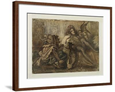 Study for a Composition Showing a Jester, a Male Figure and a Bird, 1845-52-Frederic Leighton-Framed Giclee Print