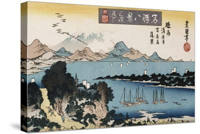 Descending Geese, Miho', from the Series 'Eight Views of Famous Places'-Toyokuni II-Stretched Canvas Print