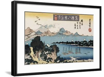 Descending Geese, Miho', from the Series 'Eight Views of Famous Places'-Toyokuni II-Framed Giclee Print