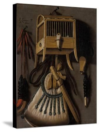 Still Life with Bird Trapping Equipment, 1660-Johannes Leemans-Stretched Canvas Print