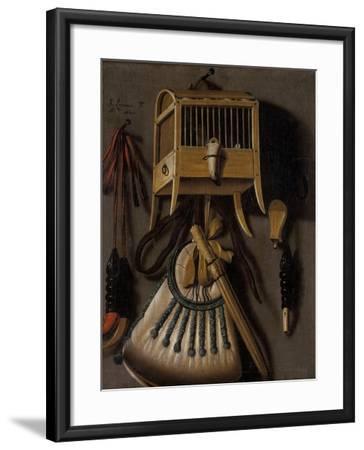 Still Life with Bird Trapping Equipment, 1660-Johannes Leemans-Framed Giclee Print