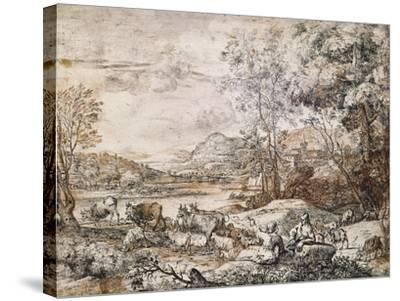 A Shepherd and Shepherdess Conversing-Claude Lorraine-Stretched Canvas Print