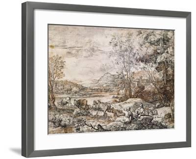 A Shepherd and Shepherdess Conversing-Claude Lorraine-Framed Giclee Print