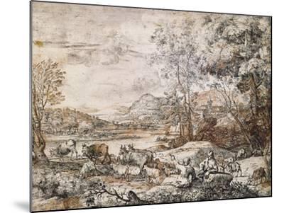 A Shepherd and Shepherdess Conversing-Claude Lorraine-Mounted Giclee Print