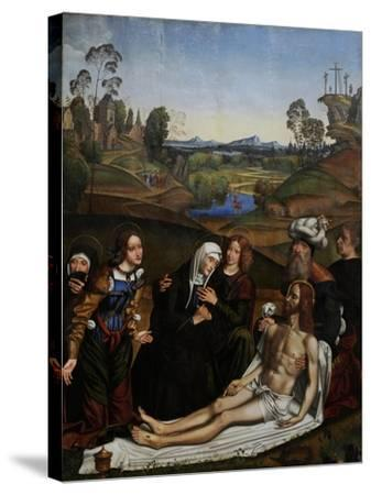 The Lamentation of Christ with a Donor, C.1505-Domenico Panetti-Stretched Canvas Print