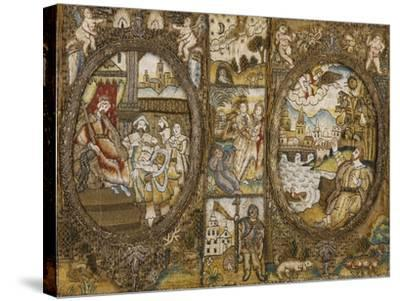 A Needlework Book Binding Depicting Religious Scenes with a Seated King and an Angel--Stretched Canvas Print