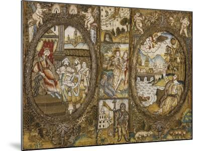 A Needlework Book Binding Depicting Religious Scenes with a Seated King and an Angel--Mounted Giclee Print