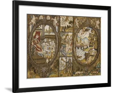 A Needlework Book Binding Depicting Religious Scenes with a Seated King and an Angel--Framed Giclee Print