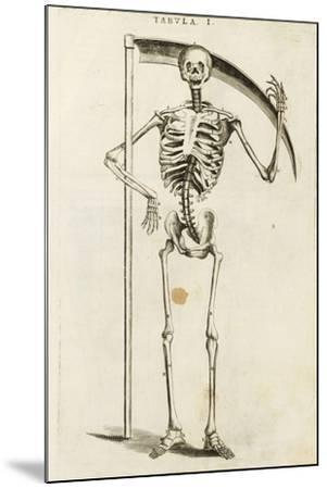 A Skeleton Holding a Scythe in the Style of a Grim Reaper--Mounted Giclee Print