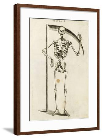 A Skeleton Holding a Scythe in the Style of a Grim Reaper--Framed Giclee Print